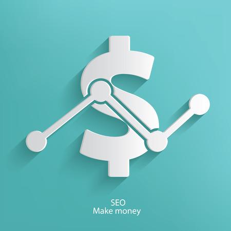 stockmarket chart: SEO make money symbol on blue background,clean vector