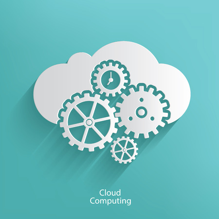 Cloud computing symbol on blue background,clean vector Vector