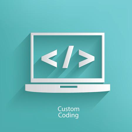 stylesheet: Custom coding symbol on blue background,clean vector