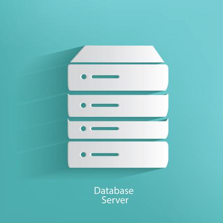 server rack: Database server symbol on blue background,clean vector