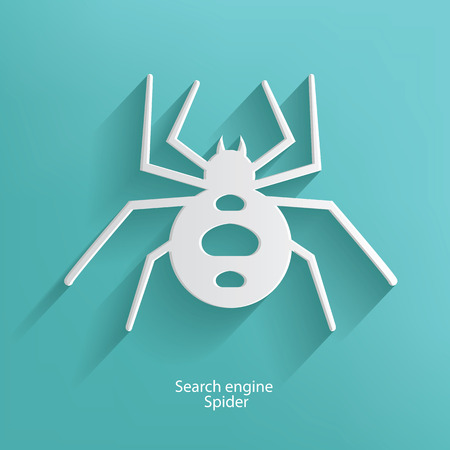 Search engine spider symbol on blue background,clean vector