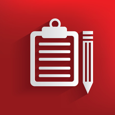 Document symbol on red background,clean vector Vector