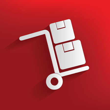 car care center: Shipping symbol on red background,clean vector Illustration