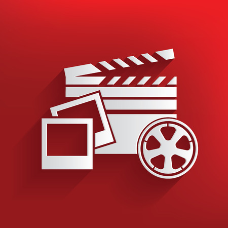 director chair: Movie media symbol on red background,clean vector