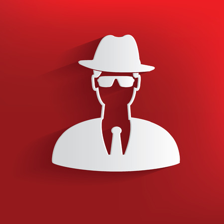 inquiring: Spy symbol on red background,clean vector