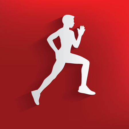 running fast: Running symbol on red background,clean vector