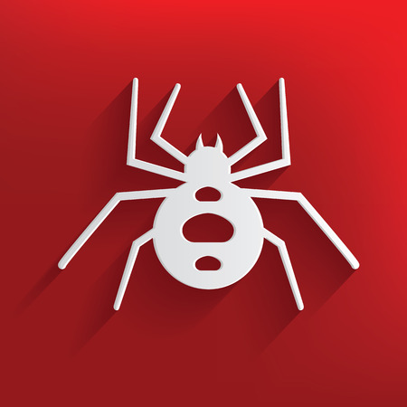 Spider symbol on red background,clean vector Vector