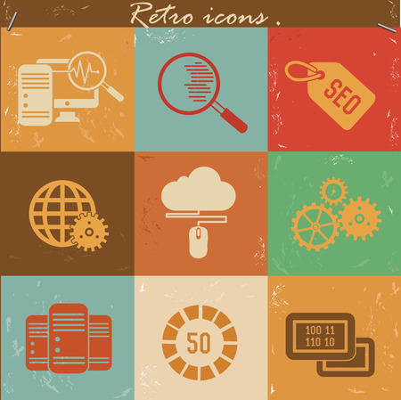SEO and marketing icons,vintage vector Vector