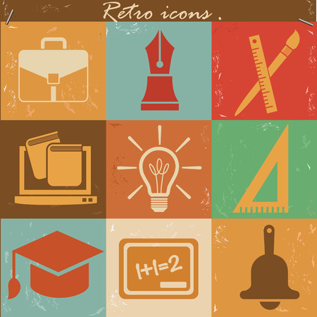 Education icons,vintage vector Vector