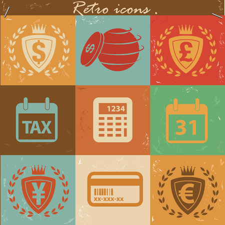 Money and financial icons,vintage vector Vector