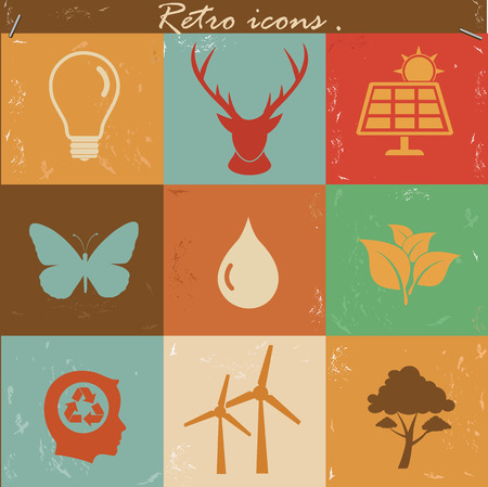 antipollution: Nature and ecology icons,vintage vector