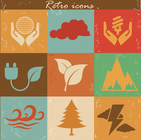Nature and ecology icons,vintage vector Vector