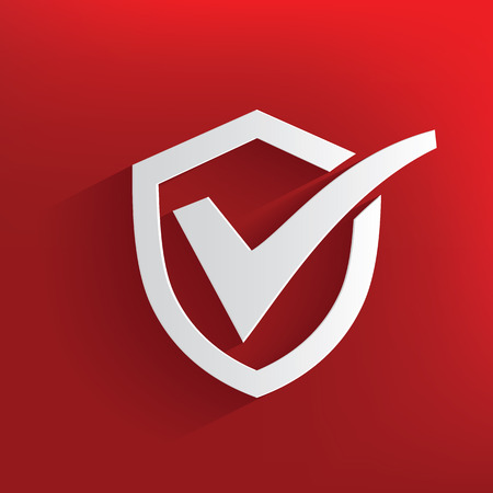 Check mark,security symbol on red background,clean vector Vector
