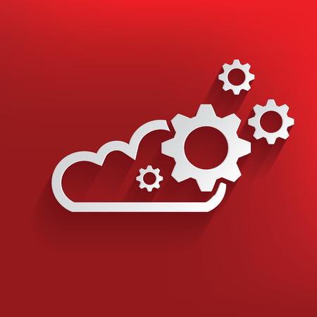 Cloud computing symbol on red background,clean vector Vector