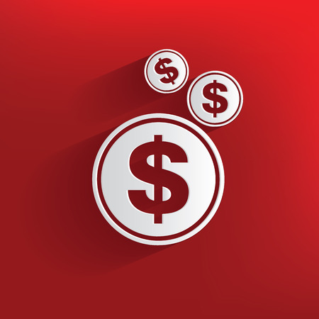 symbol yellow: Money symbol on red background,clean vector