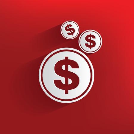 symbol: Simbolo soldi su sfondo rosso, vettore pulito