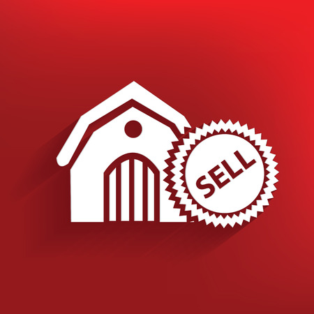 Sell,real estate symbol on red background,clean vector Vector