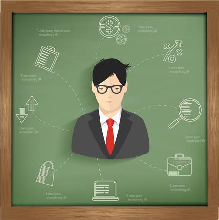 Businessman info graphic on blackboard background design,vector Vector