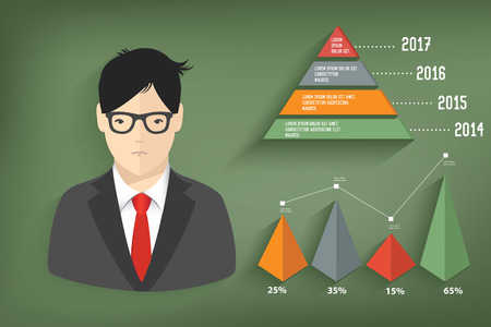 Business concept and graph on blackboard background,clean vector Vector