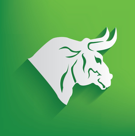 Bull symbol on green background,clean vector Vector