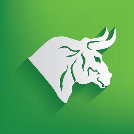 raging bull: Bull symbol on green background,clean vector Illustration