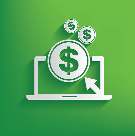 web browser: Make money symbol on green background,clean vector