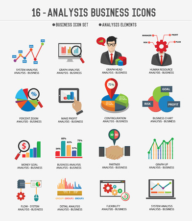 economy: Business Analysis concept icons on white background,Clean vector Illustration
