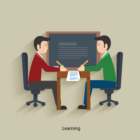 young business man: Learning concept design,clean vector
