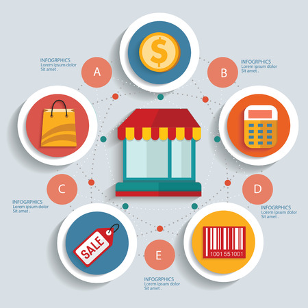 Shopping concept info graphic design,clean vector Vector