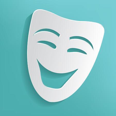 Smile mask on blue background,clean vector Vector