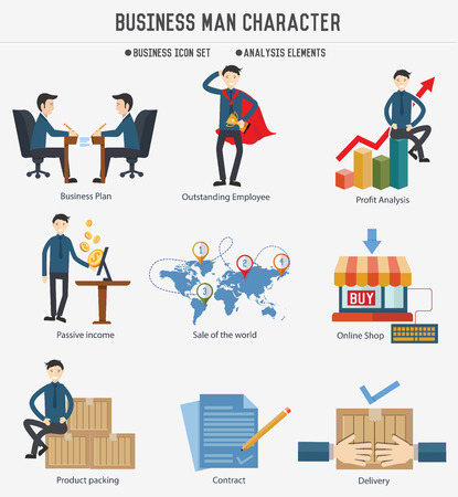 Business human resource character on white background,clean vector