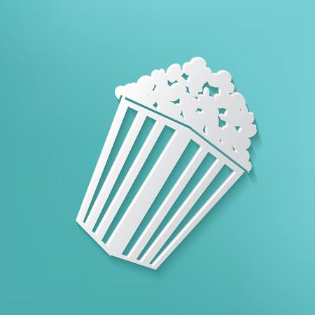 Popcorn symbol on blue background,clean vector Vector