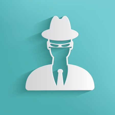 mal: Spy symbol on blue background,clean vector
