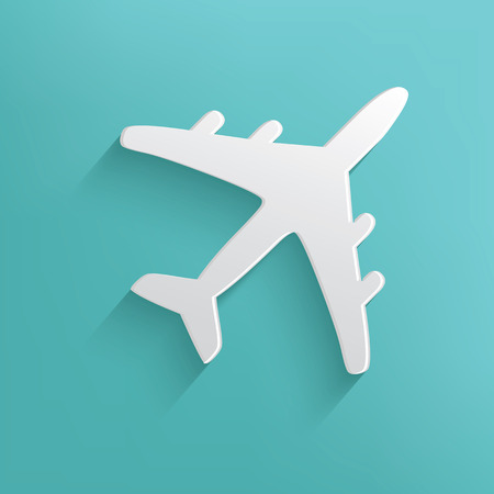 Airplane symbol on blue background,clean vector Illustration
