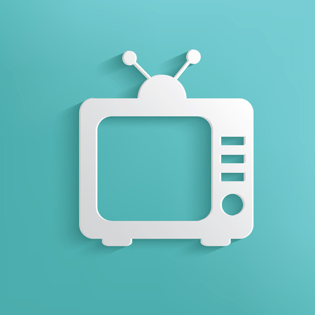 TV symbol on blue background,clean vector Vector