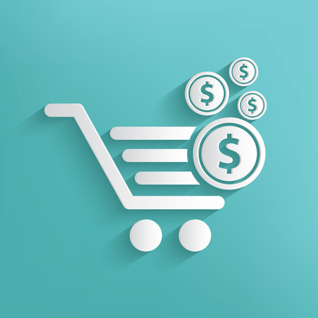 sell online: Shopping cart symbol on blue background,clean vector