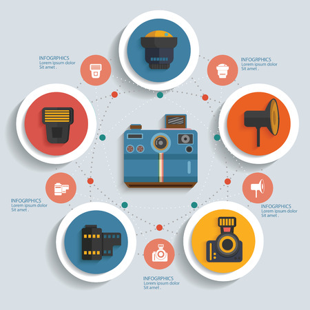 Photography concept info graphic design,clean vector