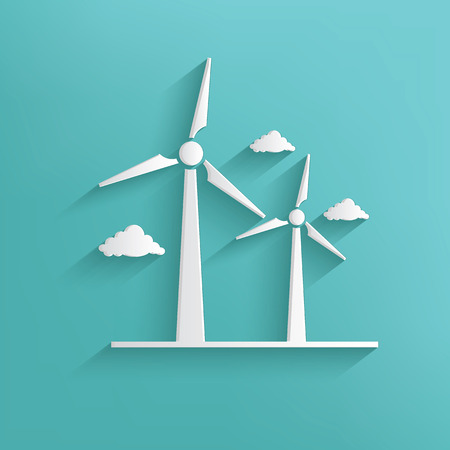 Wind turbine symbol on blue background,clean vector Vector