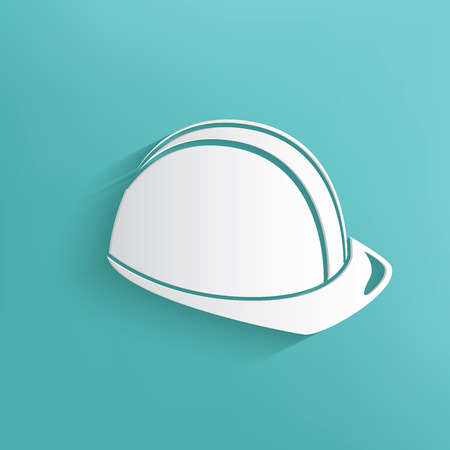 industry worker: Safety hat symbol on blue background,clean vector
