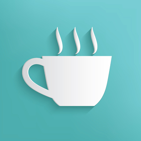 Coffee symbol on blue background,clean vector Vector