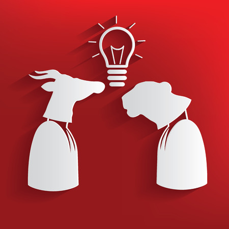 brain storm: Brain storm symbol on red background,clean vector