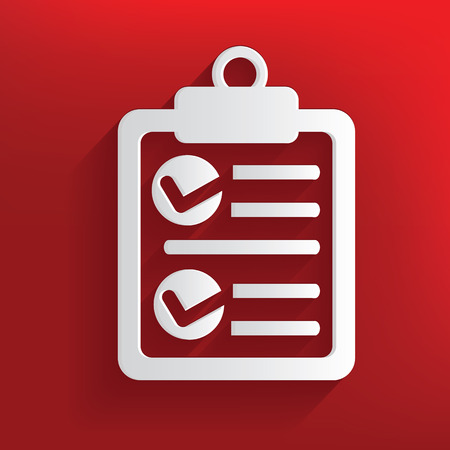 Contract symbol on red background,clean vector