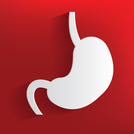 colonoscopy: Stomach symbol on red background,clean vector