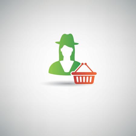 watermelon woman: Shopping symbol,clean vector