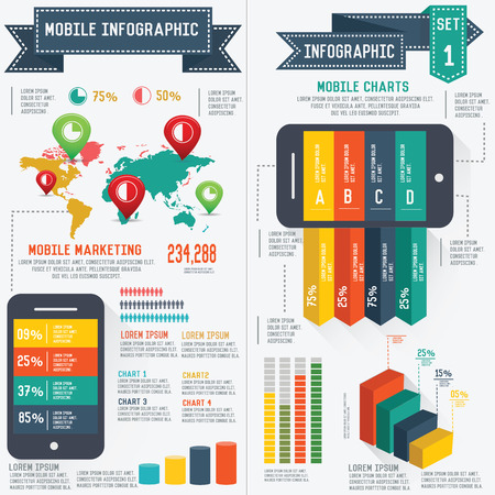 telecomunication: Mobile and communication info graphic design,clean vector Illustration
