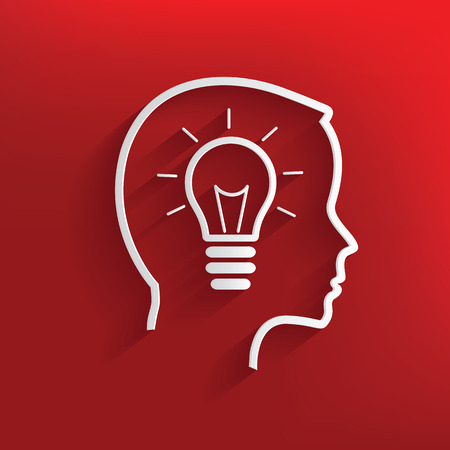 Brain idea symbol on red background,clean vector Vector