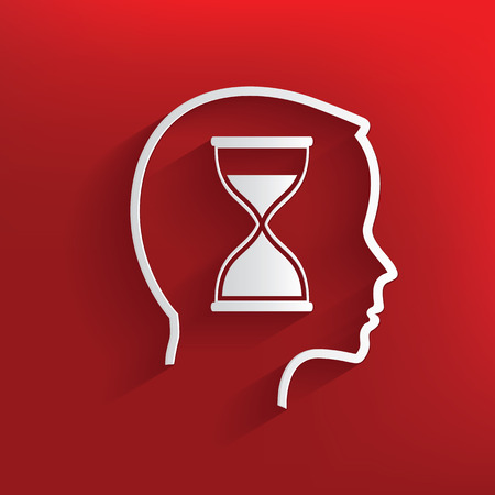 Hourglass brain symbol on red background,clean vector Vector