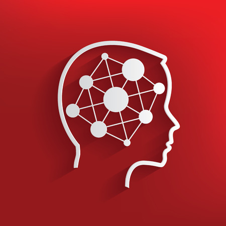 Connection brain symbol on red background,clean vector Vector