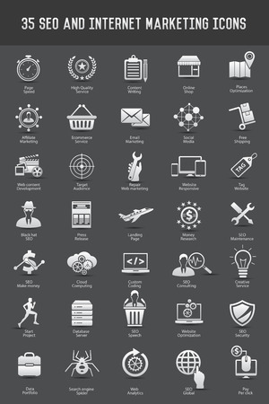 35 SEO Development icons on dark background,clean vector Vector