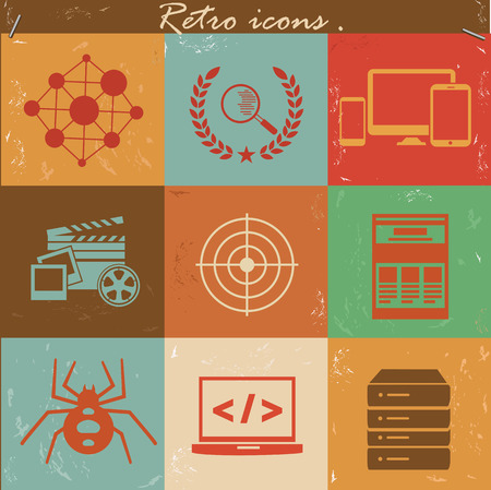 SEO icon set,retro vector Vector